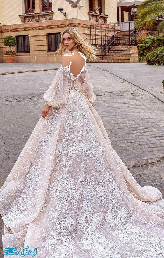 لباس عروس پرنسسی با گلدوزیهای نفیس