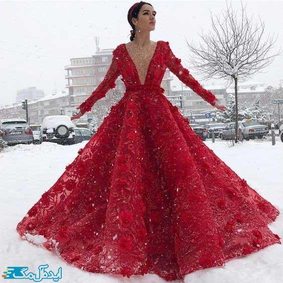 لباس عروس پرنسسی قرمز