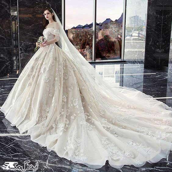 لباس عروس پرنسسی دنباله دار با دامن بلند