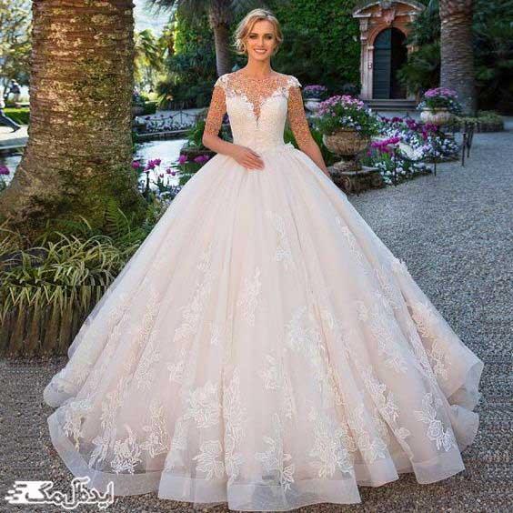 لباس عروس پرنسسی با دامن پف دار
