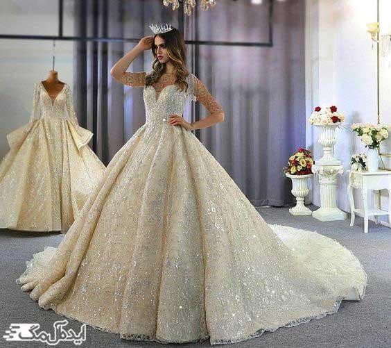 لباس عروس پرنسسی رنگی