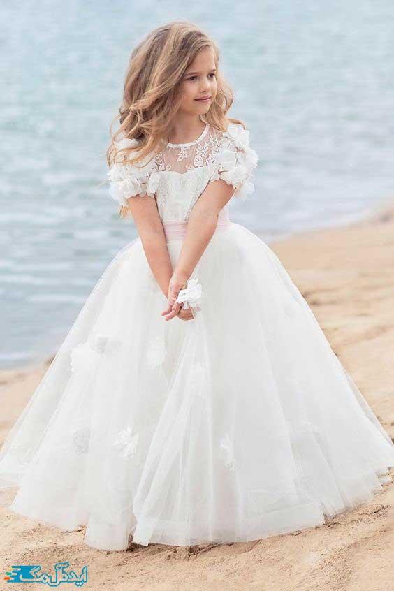 لباس عروس بچگانه با آستین کوتاه