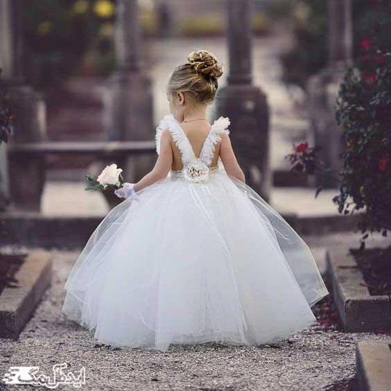 لباس عروس پرنسسی بچگانه با دامن پفی