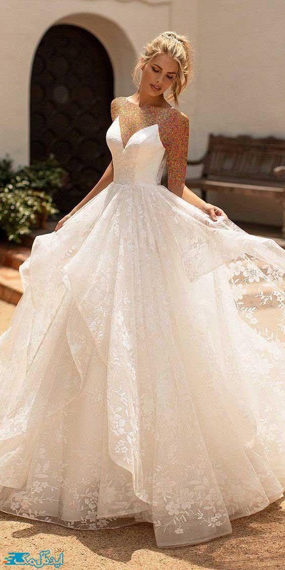 لباس عروس پرنسسی یقه هفت