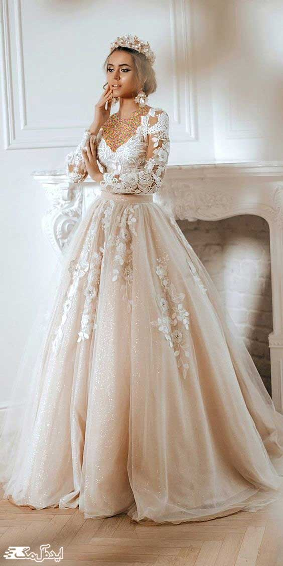 لباس پرنسسی نیمه کلوش با آستین بلند