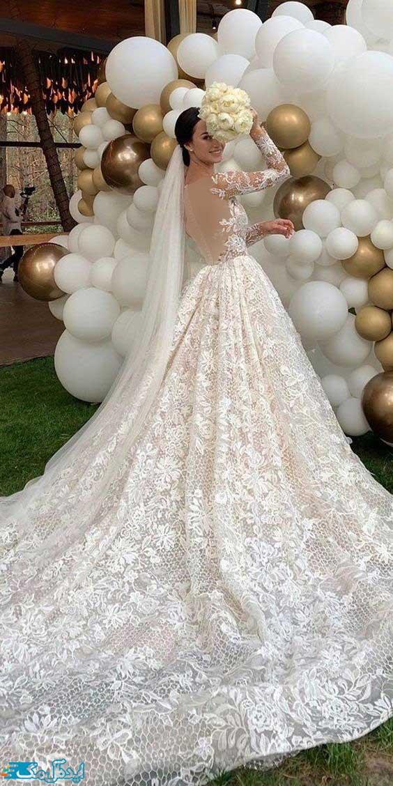 لباس عروس پرنسسی دنباله دار