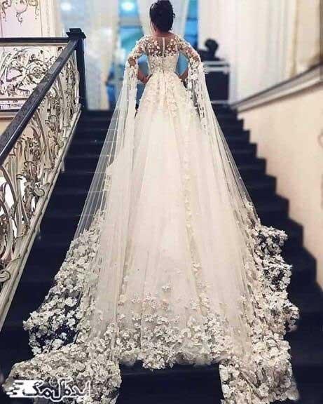 مدل لباس عروس پرنسسی آستین دنباله دار