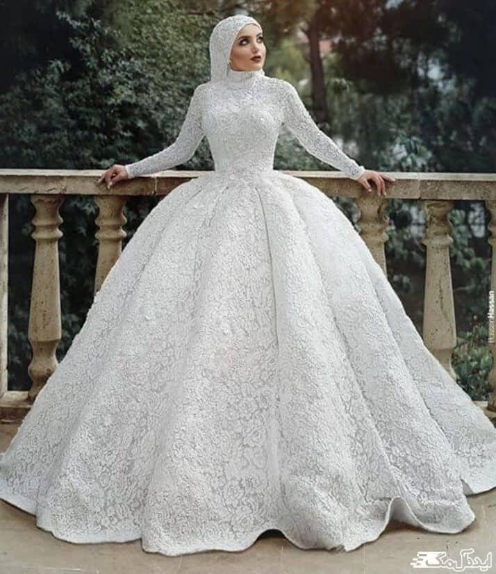 لباس عروس پوشیده شیک با دامن زنگوله ای