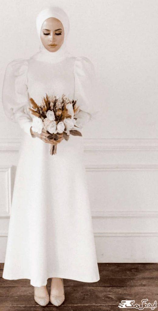 لباس عروس اسلامی با آستین پفی