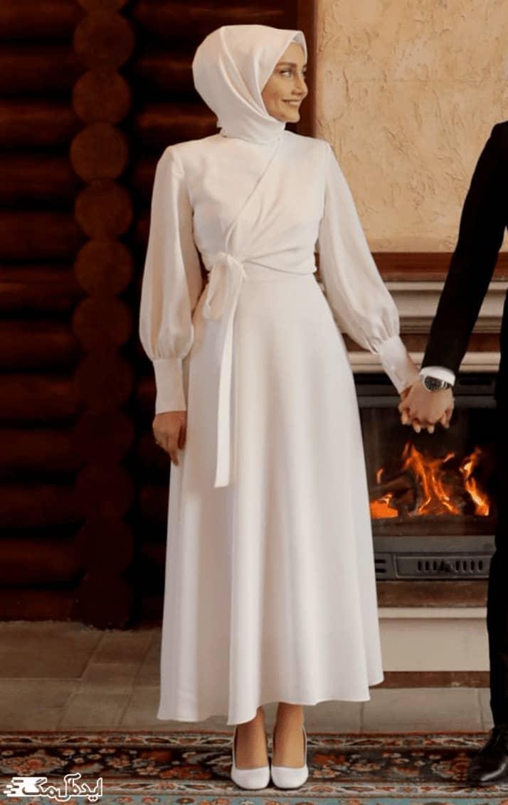 لباس عروس پوشیده ساده و شیک