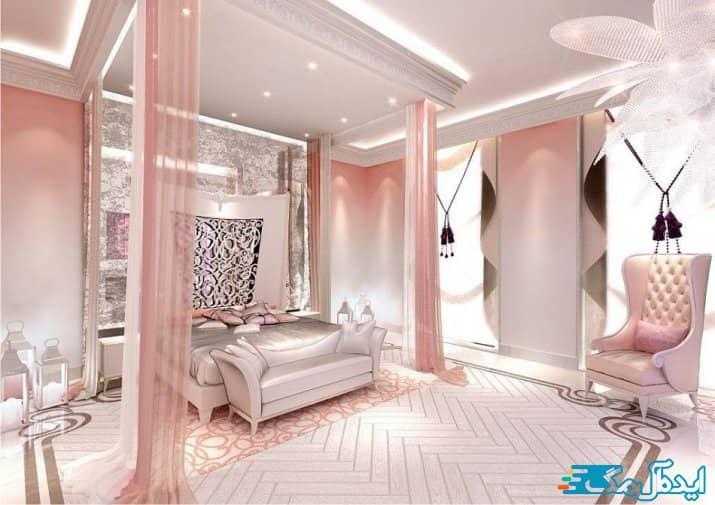 اتاق خواب صورتی تجملاتی