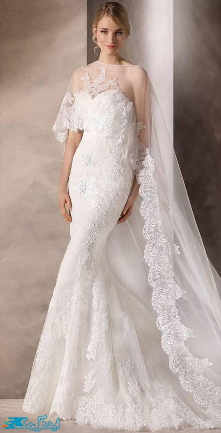 لباس عروس اروپایی با دامن تنگ