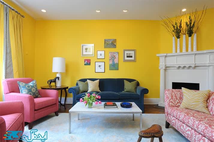 دکوراسیون اتاق پذیرایی با رنگ زرد روشن
