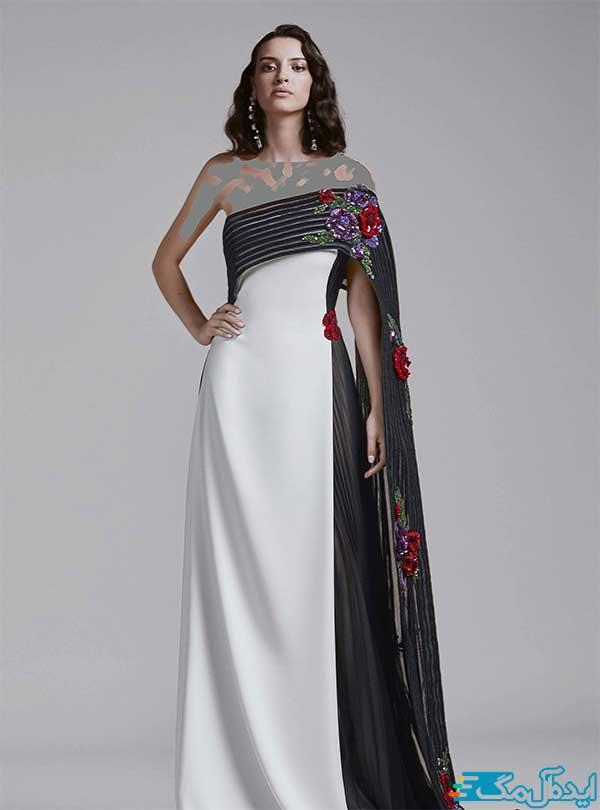 مدل لباس مجلسی سفید و مشکی با گل پولکی