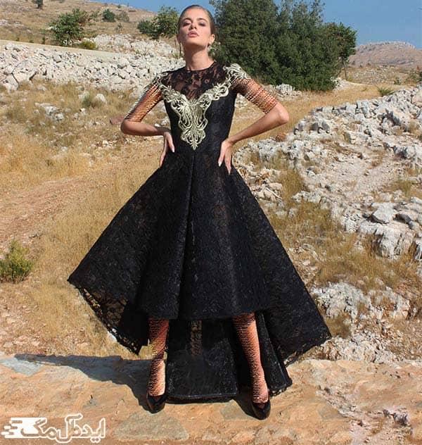 مدل لباس مجلسی مشکی با دامن نامتقارن