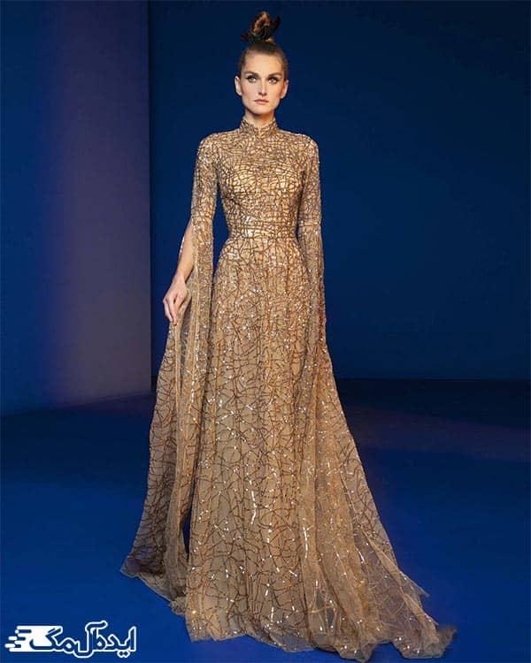 مدل لباس مجلسی زنانه پوکی طلایی رنگ