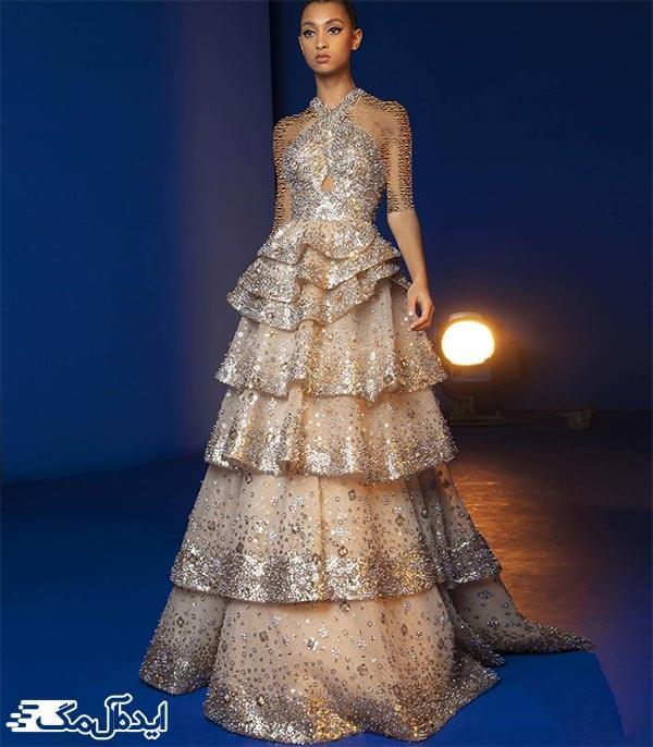 مدل لباس شب با دامن والان دار