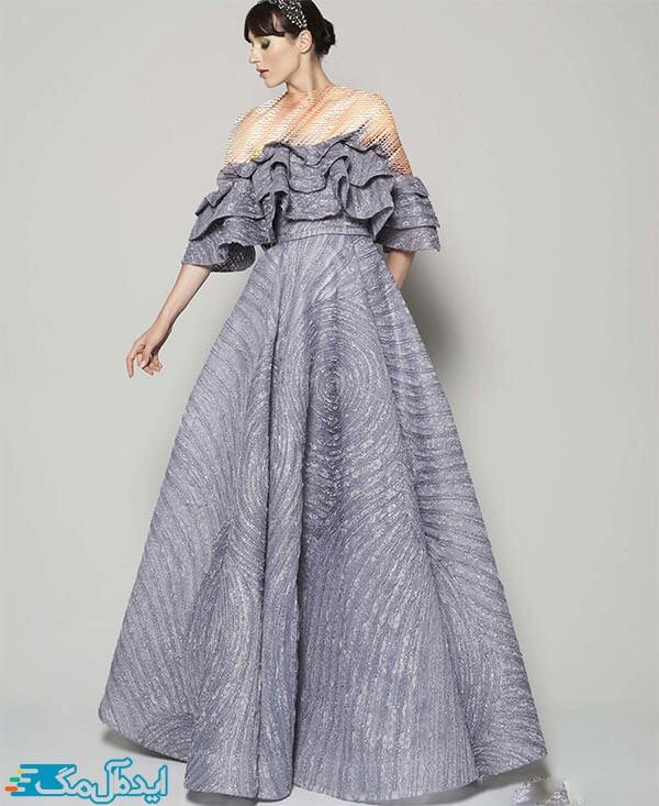 مدل لباس شب دکلته والان دار