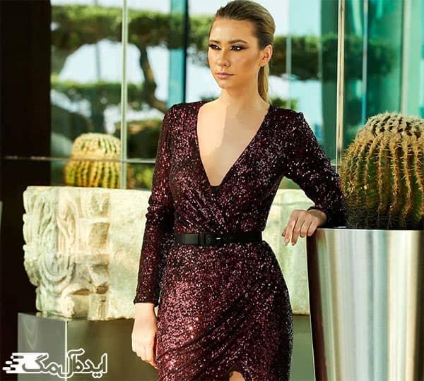 لباس مجلسی کوتاه زنانه 2020 پولکی