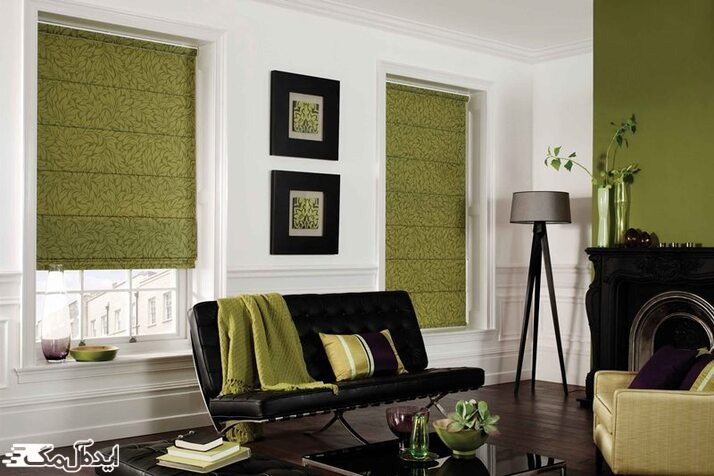 ترکیب رنگ سبز زیتونی و مشکی در دکوراسیون