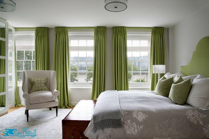 دکوراسیون اتاق خواب ا رنگ سبز و خاکستری روشن