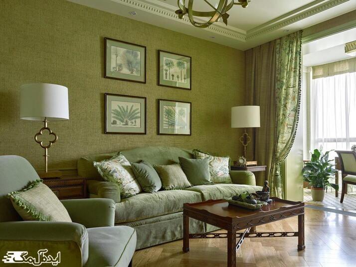 دکوراسیون اتاق با رنگ سبز زیتونی