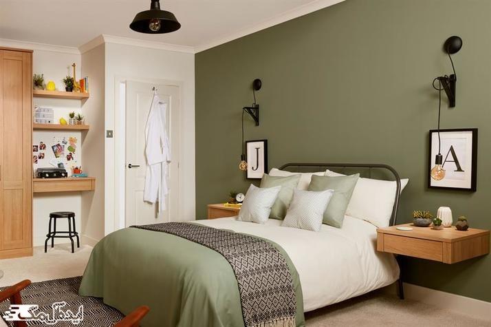 استفاده از رنگ سبز زیتونی در دکوراسیون اتاق خواب