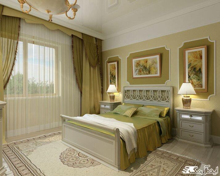 ست رنگ سبز زیتونی در دکوراسیون اتاق خواب