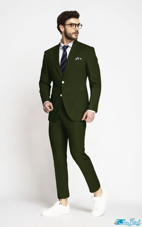 استایل رسمی مردانه با رنگ سبز زیتونی