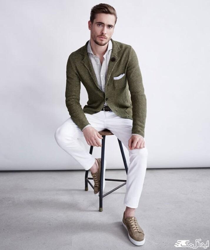 ست کرد کت سبز زیتونی برای استایل مردانه