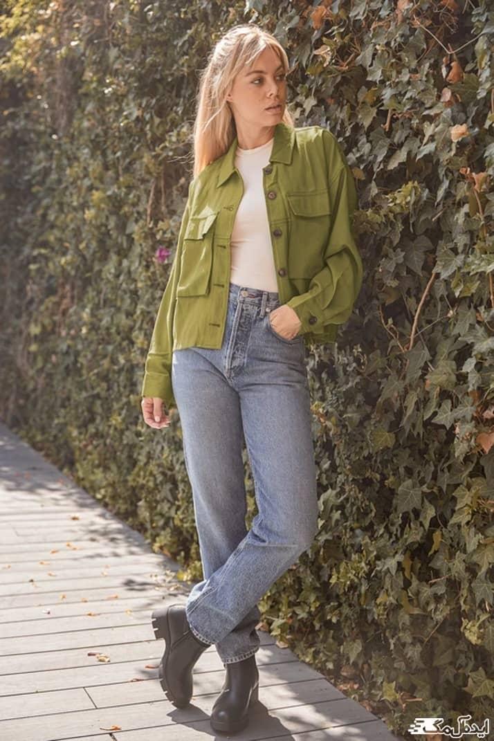 استایل کژوال دخترانه با رنگ سبز زیتونی