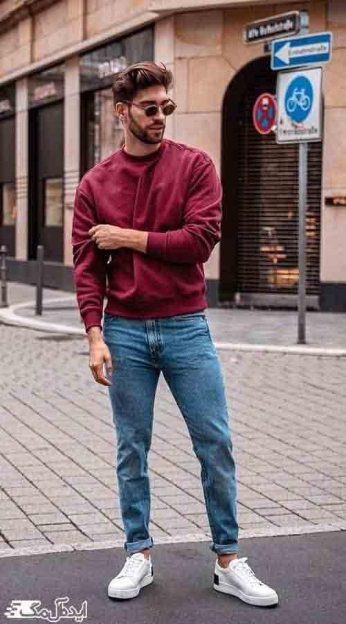 استایل کژوال مردانه با رنگ زرشکی
