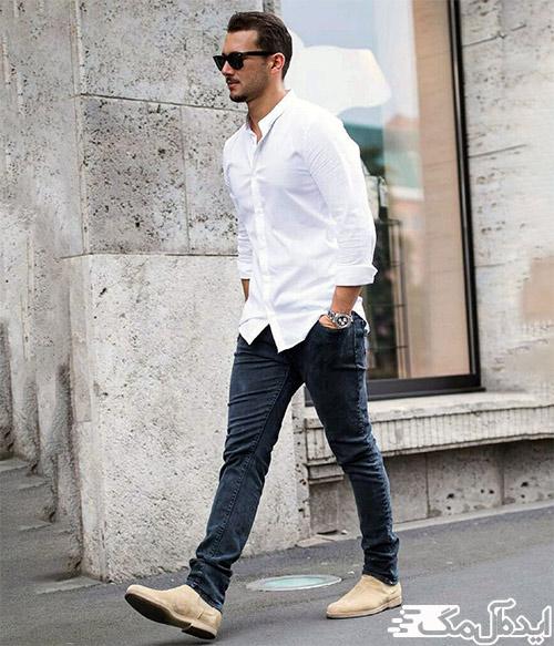 ست کردن پیراهن سفید مردانه برای تابستان