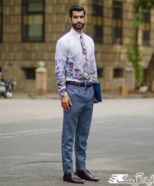 استفاده از پیراهن گلدار مردانه در تیپ رسمی