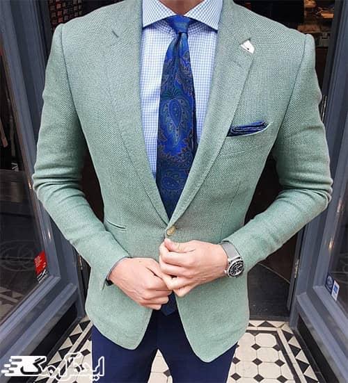 ست کردن کت تک مردانه سبز رنگ