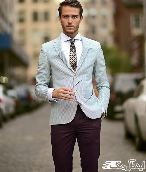 ست کردن کت آبی تک مردانه