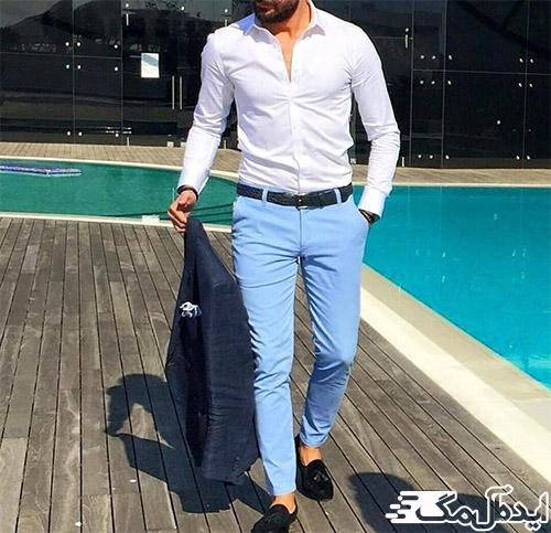 ست کردن شلوار مردانه آبی آسمانی