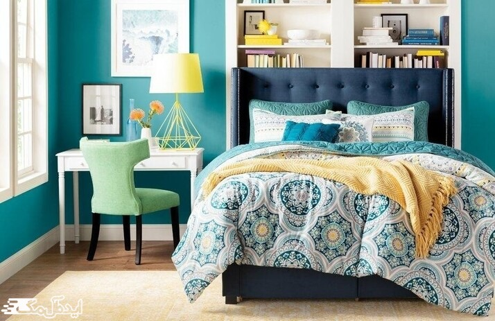استفاده از رنگ سبز آبی در دکوراسیون اتاق خواب