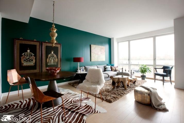 استفاده از رنگ سبز کله غازی برای دیوارها