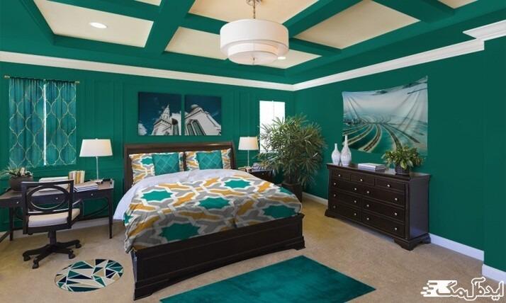 استفاده از رنگ سبز آبی تیره در دکوراسیون اتاق خواب