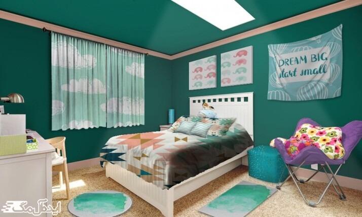 دکوراسیون اتاق خواب سبز کله غازی
