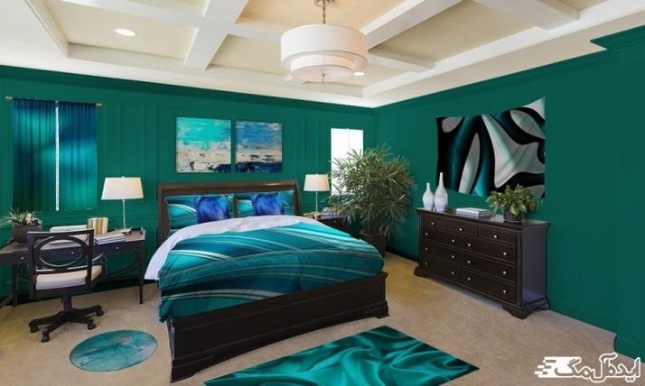 ست کردن رنگ سبز آبی تیره برای اتاق خواب