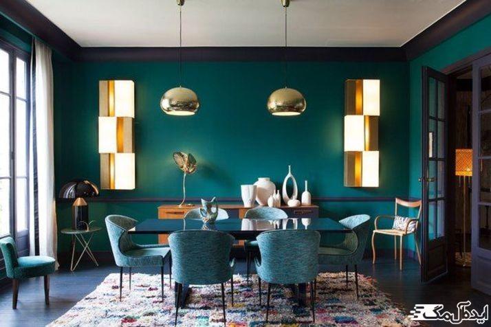 استفاده از رنگ سبز کله غازی برای اتاق ناهارخوری