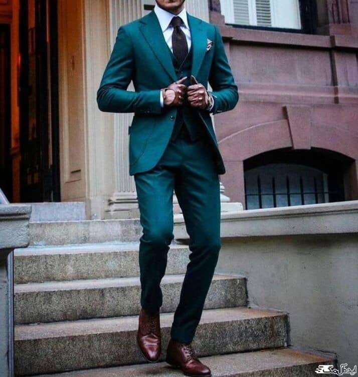 تیپ رسمی مردانه با کت و شلوار سبز کله غازی