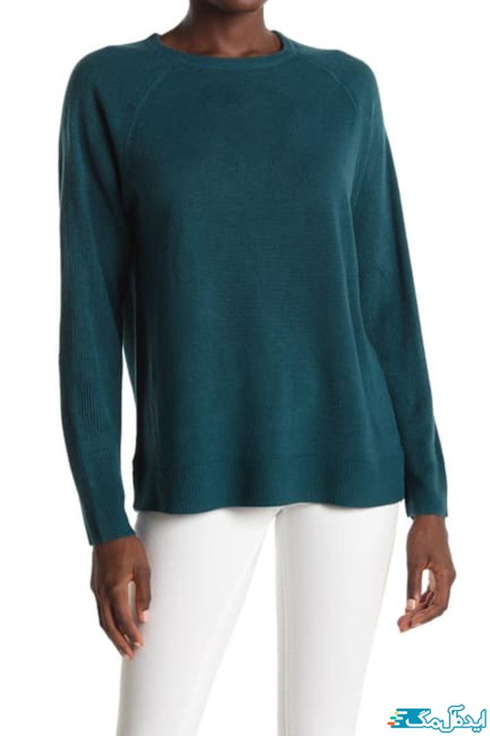 تیپ شیک زنانه با بلوز سبزآبی و شلوار سفید