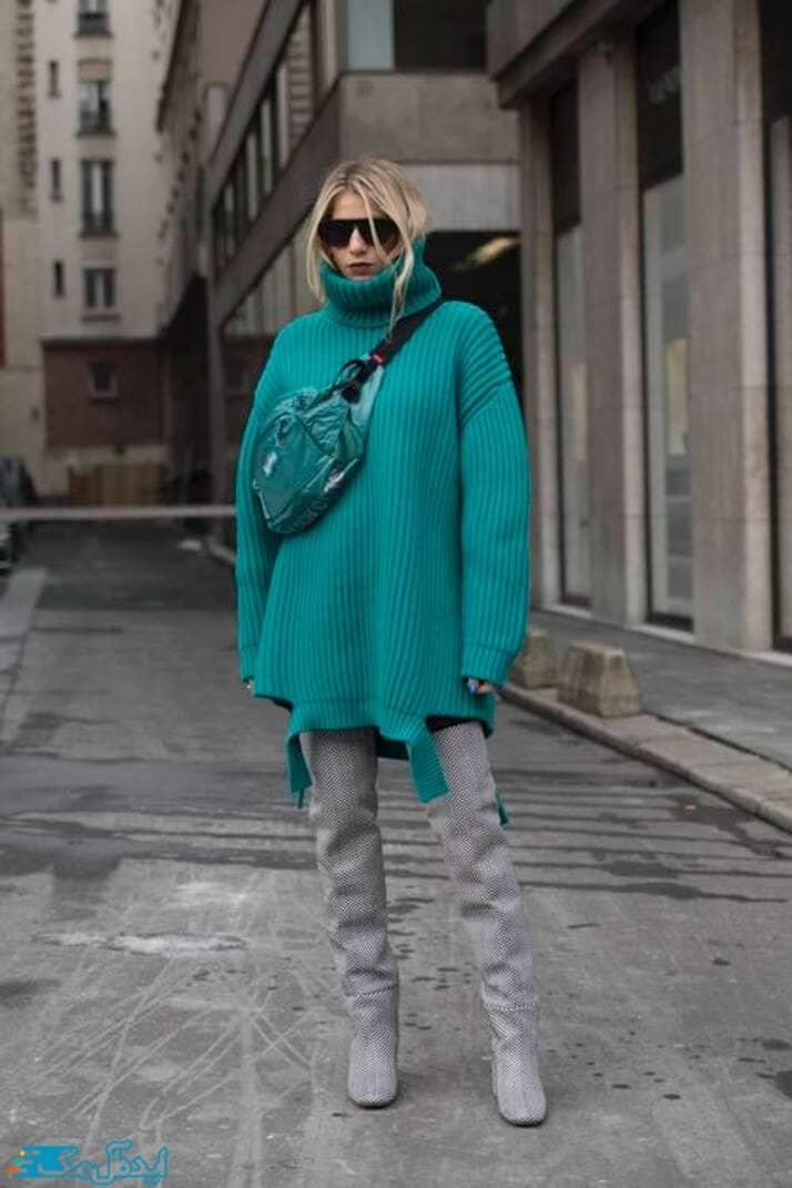 استایل زنانه زمستانی با پلیور سبزآبی