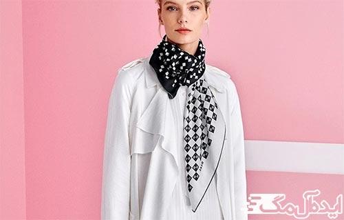 روسری شطرنجی سفید و مشکی
