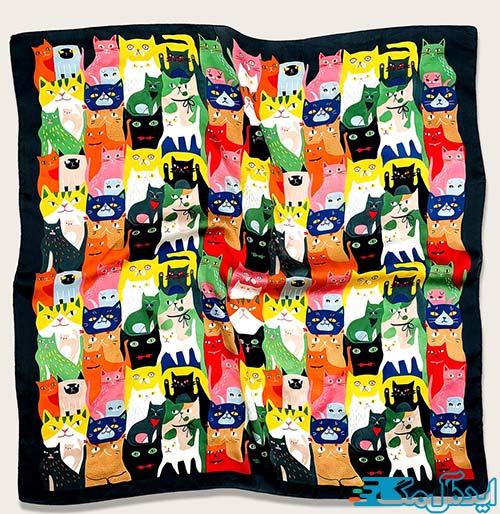 روسری با طرح بچه گربه