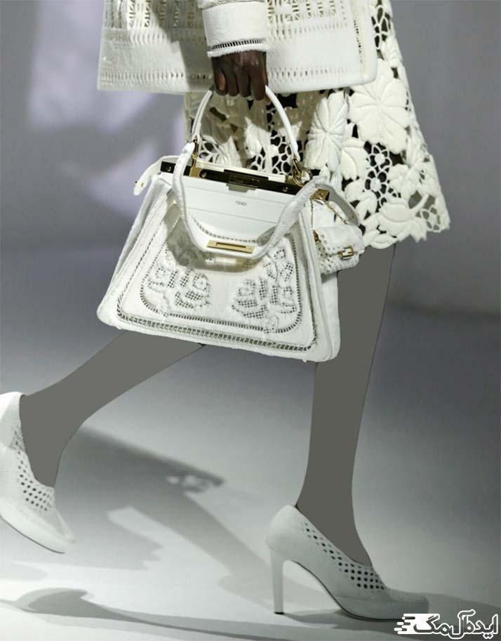 ست کیف و کفش سفید عروس سال 1400