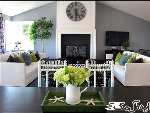 دکوراسیون اتاق پذیرایی با رنگ خاکستری